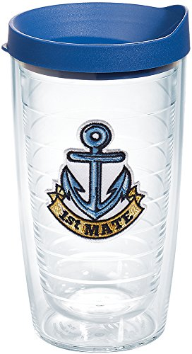 Tervis 1167472 1st Mate Anchor Tumbler with Emblem and Blue Lid 16oz, Clear - First Mate Sailor