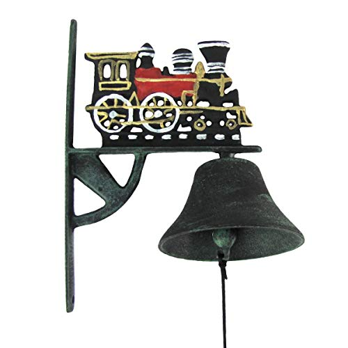 Old Locomotive Bell - TG,LLC Red Metal Railroad Locomotive Bell Wall Mount Train Hobby Room Front Porch Decor