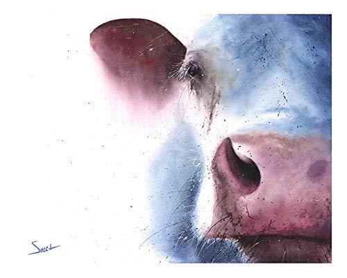 Amazon Com Cow Portrait Painting Watercolor Art Print Handmade
