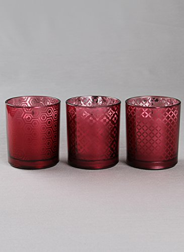 Tenereze Raspberry Glass Holders WIth LED Candles