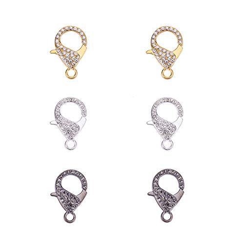 PandaHall Elite 6 Pcs Alloy Lobster Claw Clasps Cord End with Rhinestone 31x22x7mm for Jewelry Making 3 Colors