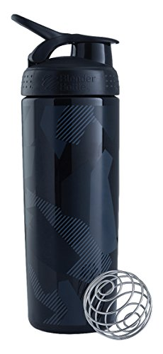 BlenderBottle SportMixer Signature Sleek Shaker Bottle, Shattered Slate Black, 28-Ounce (Bottle Slate)