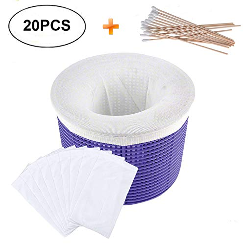 (Delatanus 20pack Pool Filter Savers,Reusable Pool Socks,Fine Mesh Screen Sock Liner for Baskets,Plus Bonus of 20pcs Cotton Swab)