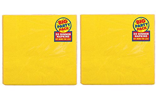 Amscan Durable Big Sunshine Dinner Paper Napkins Party Supply (100 Pack), 7-3/4 x 7-3/4, Yellow