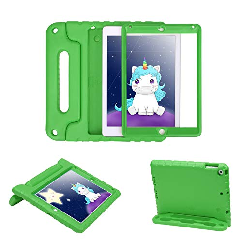 HDE Case for iPad Air - Kids Shockproof Bumper Hard Cover Handle Stand with Built in Screen Protector for Apple iPad Air 1 - 2013 Release 1st Generation (Green) (Case Computer Hde)