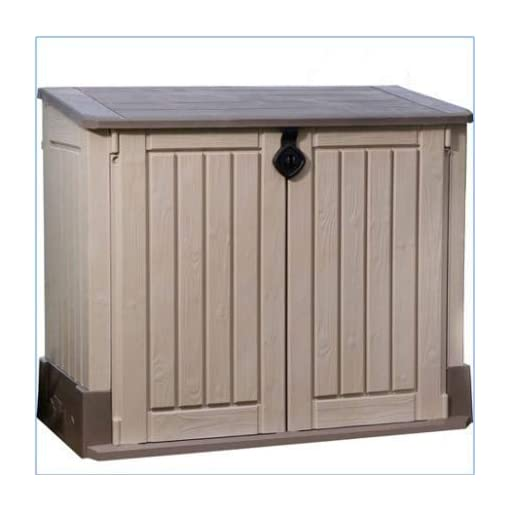 Garden and Outdoor Plastic Outdoor Storage, Shed – 30-Cu.Ft., Color Beige/Taupe outdoor storage sheds