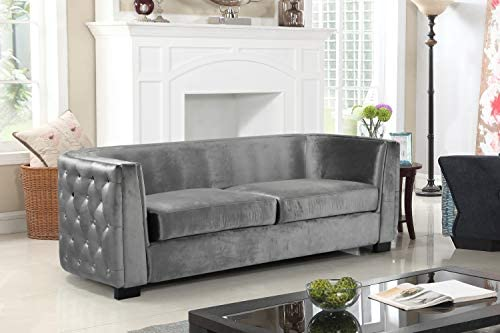Iconic Home Saratov Sofa Velvet Upholstered Button Tufted Curved Shelter Arm Design Espresso Finished Wood Legs Modern Transitional Grey