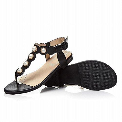 Charm Foot Womens Comfort Thong Faux Pearl Buckle Flat Sandals Black ySgkYIK