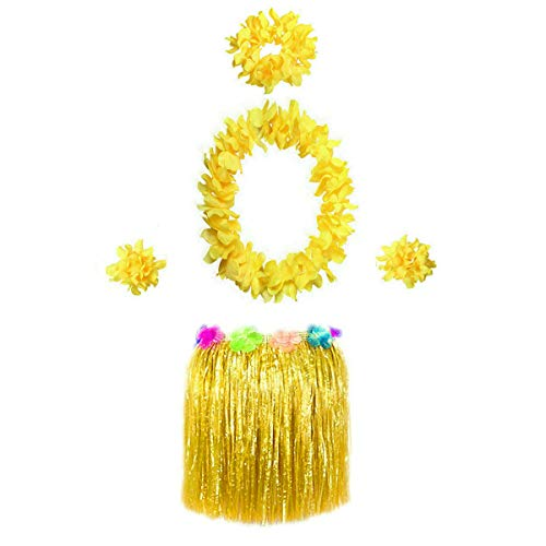 Hawaiian Luau Hula Grass Skirt with Large Flower Costume Set for Dance Performance Party Decorations Favors Supplies (16
