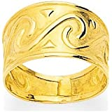 Bague OR 18K Jaune 8 mm dessin vague spirale