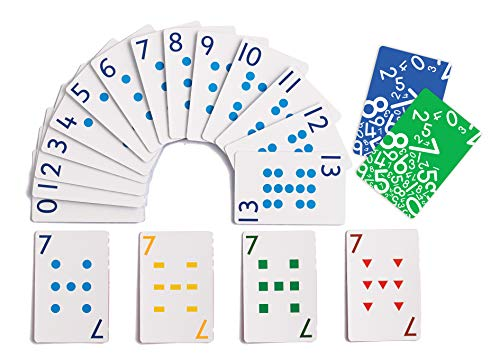 edx Education School Friendly Playing Cards - Set of 8 Decks - Includes 448 Cards - Multicolored Patterned Cards Numbered 0-13 for Gameplay - Teach Number Concepts, Counting, Matching and Probability