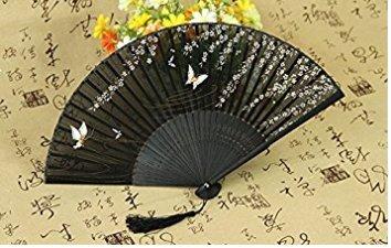 B_Mayshow Elegent Qualitäts-Frauen-Handseide-faltende Fans mit Bambusrahmen (Doppelter Schmetterling)