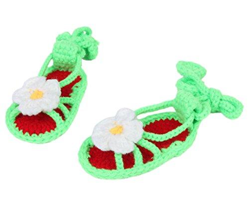 Smile YKK Strickschuh Strick Schuh Baby Unisex süße Stil One-Size 11cm Hellgrün Blüte
