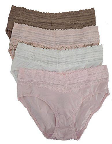 Warner's Womens No Pinches No Problems Hipster Panty 4-Pack, Large, Beige/Animal Swirl Print/White/Pink (Womens Hip Hugger Panties)