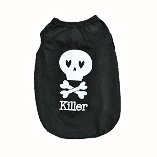 Price comparison product image kaifongfu sales, Fashion Summer Cute Dog Pet Vest Puppy Printed Cotton T Shirt (M,  Black)