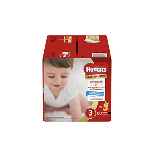 Huggies Little Snugglers Baby Diapers, Size 3, 88 Count, GIGA JR Pack (Packaging May Vary)