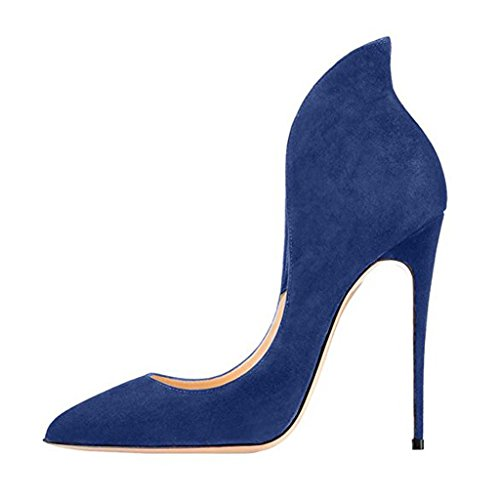 Heels Women's Evening Toe for High Pumps Pointed Shoes Jushee Blue Stiletto Chic Dark pY4wdWcqC