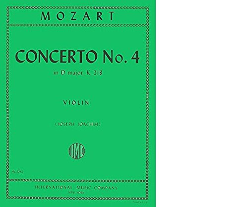 Mozart W.A. Concerto No. 4 in D Major K. 218 Violin and Piano - by Joseph Joachim - International