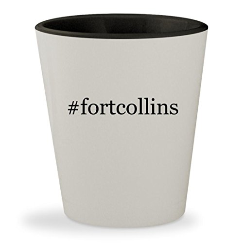 #fortcollins - Hashtag White Outer & Black Inner Ceramic 1.5oz Shot - Collins Guys Glasses Fort