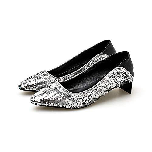Con 3cm 36 Scarpe Eleganti Da Uengf Tacchi Per Comode Paillettes Alti  Ufficio Argento nbsp scarpe Donna Lavoro TqwFZxXH6 bb351824027