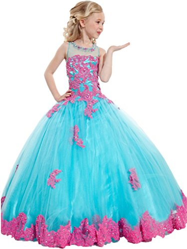 Y&C Girls' Ball Gown Appliques Beads O-neck Pageant Dresses 12 US Blue Pink by Yc