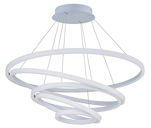 - Pendants 1 Light with Matte White Finish Acrylic and Aluminum LED Bulb 39 inch 195 Watts