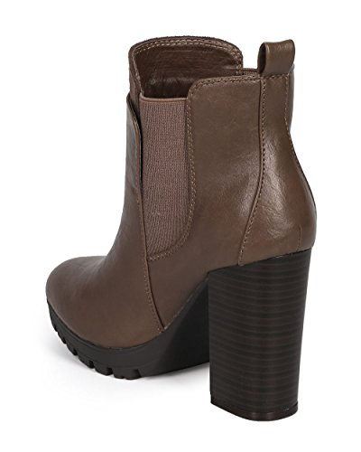 Riding Tongue Diva Heel DK56 Double Taupe Women Wild hunky Bootie Leatherette Grey Chelsea pRqwHgxCz