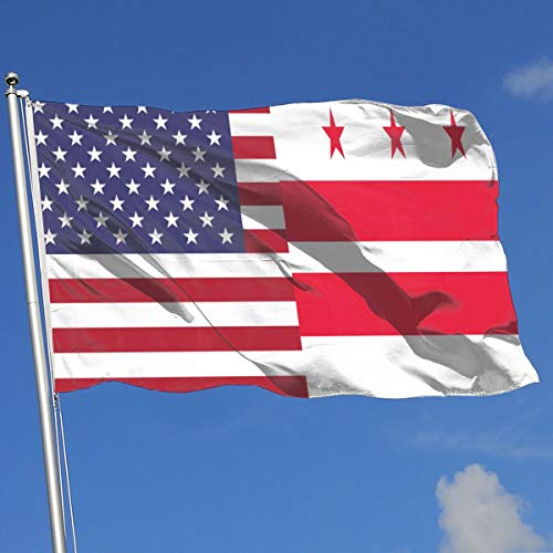 TAOHJS76 Graphic Outdoor/Indoor Garden Flag Washington DC Flag 100% Polyester Single Layer Translucent Flags 3 X 5 -