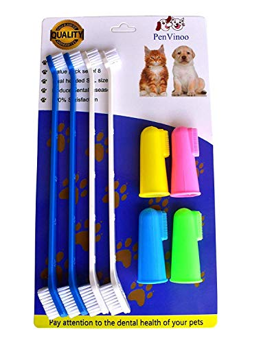 RosyLife Pet Dog Soft Toothbrush Dog Toothbrush Finger Toothbrush pet Toothbrush Small to Large Dogs (4 Neutral Size + 4 Head Toothbrush)