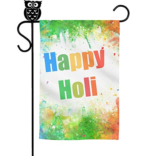 (GholoMez 1 Pack Home Happy Holi Colorful Background Poster 30cm X 45cm Flags Yard Decorative Fade Resistant Outdoor Flag)