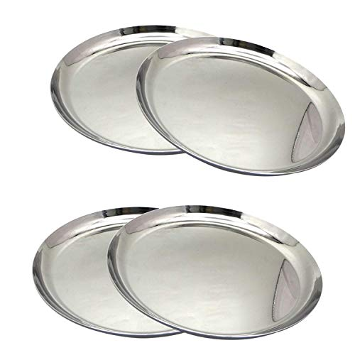 Dia Round Mirror Tray - NYGT Stainless Steel Round Dinner Plate/Thali Shallow Dinner Plates with Food Snacks Plate Mirror Finish Dia - Set of 4pcs
