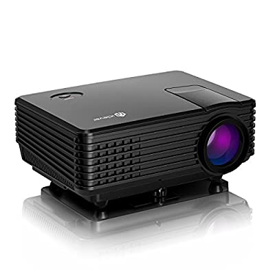 iClever FP8048H1-IV1 Mini Projector LED HD Video Portable Multimedia Home Theater with HDMI/USB/VGA/AV, 1080p Support, Black