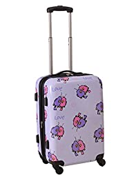Ed Heck Multi Love Birds Hard Side Spinner Luggage 21-Inch, Light Purple, One Size