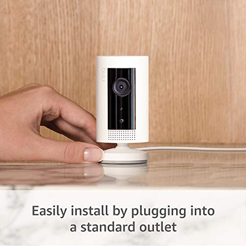 Ring Indoor Cam, Compact Plug-In HD security camera with two-way talk, Works with Alexa - White