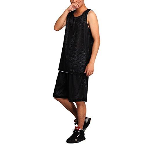 HOEREV Herren Reversible Sport Basketball Shorts und T-Shirts, keine Taschen