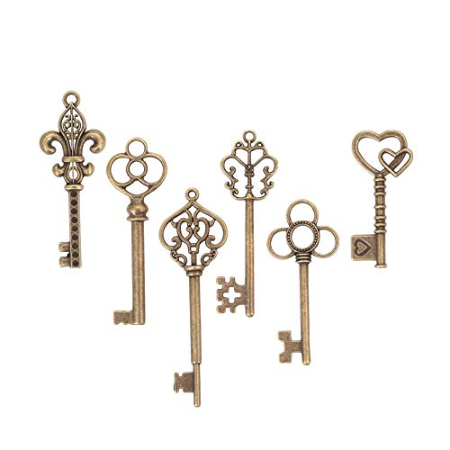 (Bingcute 6 Type Of 30Pcs Bronze Vintage large Skeleton Keys -Vintage Keys Charms skeleton key)