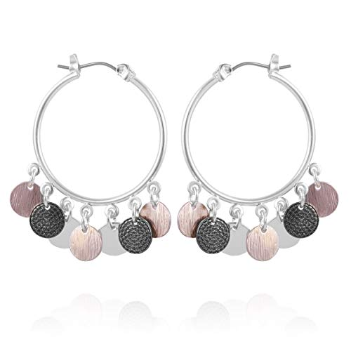 (XS Accessories Rose Gold, Silver and Hematite Tri-Tone Drop Disc Hoop Earrings for Women and Girls)