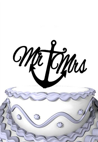 Meijiafei Script Mr and Mrs Cake Topper With Anchor C Nautical Wedding Cake Topper