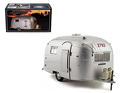 New 1:18 MOTOR CITY CLASSIC COLLECTION - SILVER AIRSTREAM ALUMINUM CAMPER  TRAILER Diecast Model Car By Motor City Classics