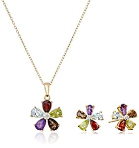 Yellow Gold Plated Sterling Silver Multi-Gemstone Flower Earrings and Pendant Necklace Set, 18""