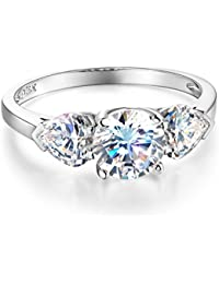 Ladies Solid 14k Yellow -OR- White Gold Polished CZ Cubic Zirconia Round Cut Three 3 Stone Engagement Ring