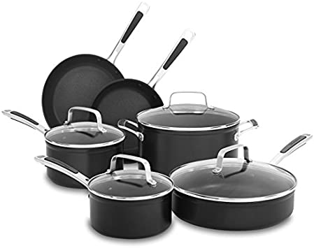 KitchenAid KC2H1S10KD Midnight Black Hard Anodized Nonstick 10-Piece Cookware Set