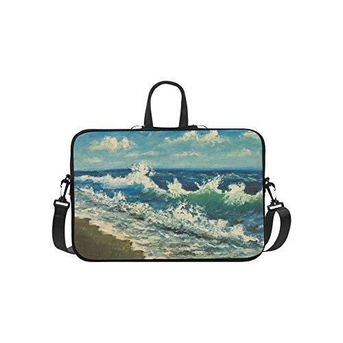 Original Oil Painting Sea Beachbeautiful Waves Briefcase Laptop Bag Messenger Shoulder Work Bag Crossbody Handbag for Business - Paintings Oil 1887