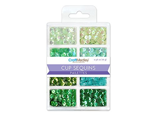 Craft Medley GC457C Cup Sequins, 7mm, 16g , 8 Colors, Go Green