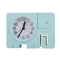 Cute Animal Elephant Alarm Clock,Funny Table Time Clocks For Kids-Blue