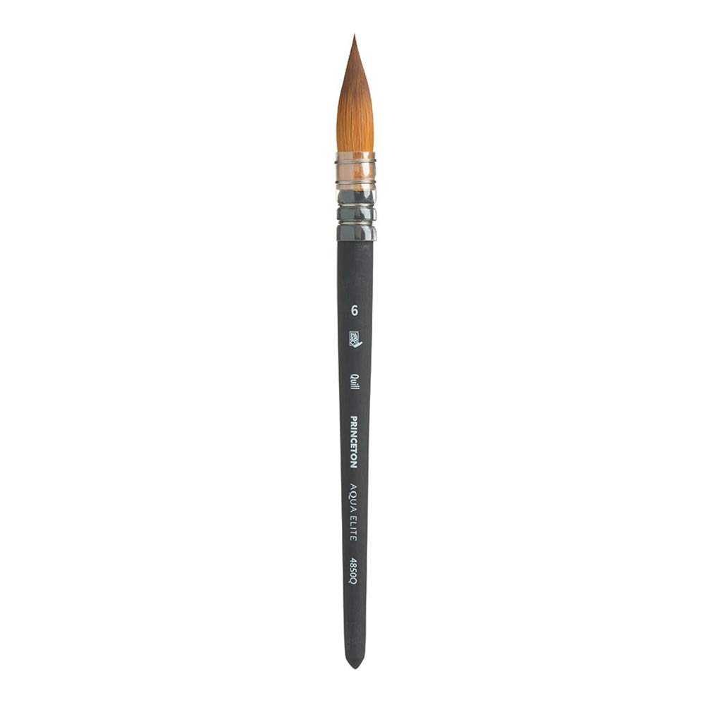 Princeton Aqua Elite NextGen Artist Brush, Series 4850 Synthetic Kolinsky Sable for Watercolor, Quill, Size 6