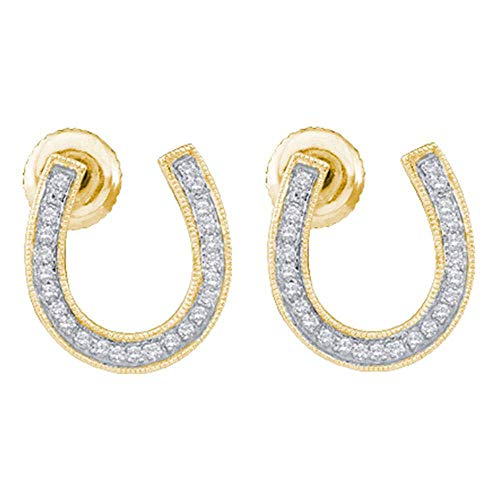 Ladies Horseshoe Ring Diamond (Jewels By Lux 10kt Yellow Gold Womens Round Diamond Horseshoe Screwback Stud Earrings 1/6 Cttw In Pave Setting (I2-I3 clarity; H-I color))