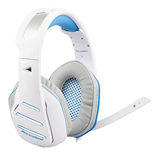 PS4 Headset, New Xbox One Headset, LOL-FUN 3.5mm PC Headset with Microphone LED Light Volume Control Splitter for Laptop Tablet Smartphones (White & Blue)