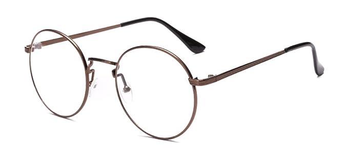 2915016c3 Outray Retro Round Metal Clear Lens Glasses 2136c5 Tan Frame: Amazon ...