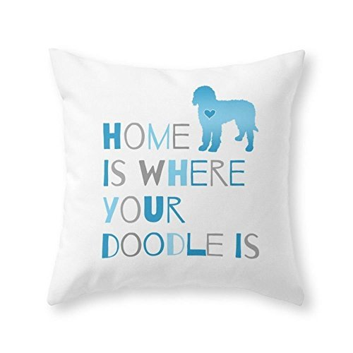 Sea Girl Soft Home Is Where Your Doodle Is Art For The Labradoodle Or Goldendoodle Dog Lover Throw Pillow Indoor Cover Pillow Case For Your Home16in x 16in
